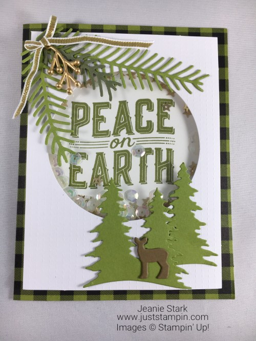 Stampin Up Pretty Pines Thinlits and Carols of Christmas shaker card idea - Jeanie Stark StampinUp