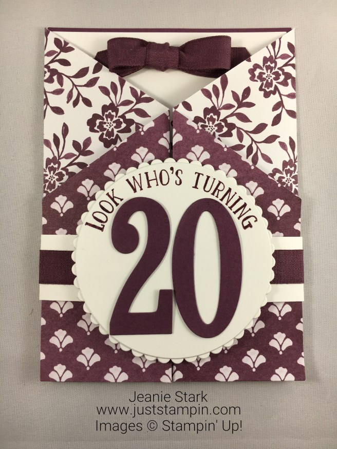 Stampin Up Number of Years Fun Fold Birthday Card Idea - Jeanie Stark StampinUp