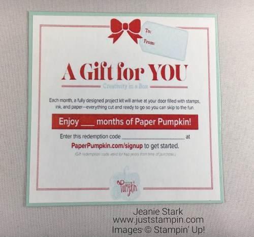 Stampin Up Paper Pumpkin gift certificate