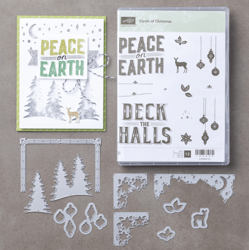 Stampin Up Carols of Christmas stamp set and Card Front Builder Framelits Dies. Visit www.juststampin.com for project ideas and supplies.