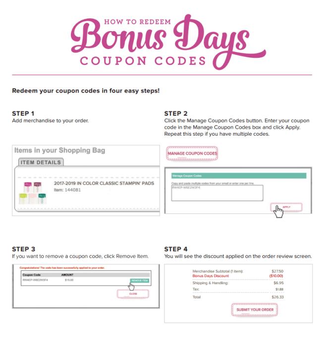 How to redeem Bonus Days coupons