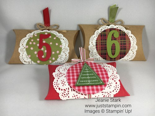 Stampin Up Paper Pumpkin and Trim Your Stocking Pillow Box Ideas - Jeanie Stark StampinUp