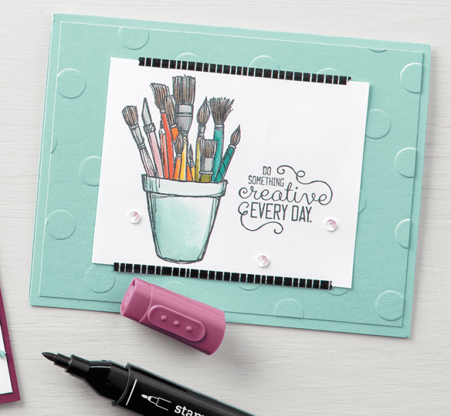 Stampin Up Crafting Forever with Stampin' Blends card idea - For inspiration and ordering visit www.juststampin.com Jeanie Stark StampinUp
