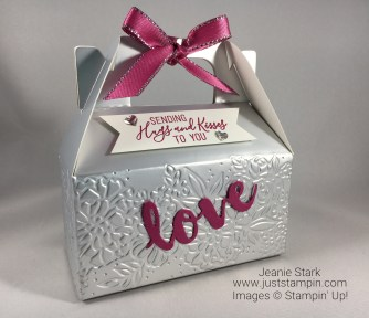 Mini Gable Box embossed with Petal Pair embossing folder and Sunshine Wishes Thinlits treat box idea - Jeanie Stark StampinUp