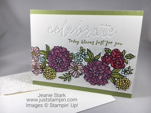 Stampin Up Perennial Birthday Stamp Set and Petal Pair birthday or all occasion card idea with coloring technique using Stampin Blends - Jeanie Stark StampinUp
