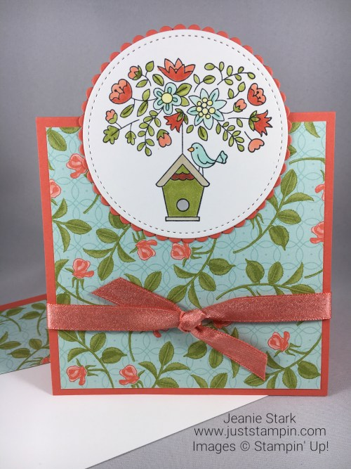 Stampin Up Flying Home all occasion card idea using Petal Garden Designer Series Paper and Stampin Blends - Jeanie Stark StampinUp