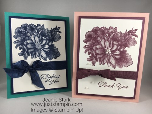 Stampin Up Heartfelt Blooms Thinking of You and Thank You card ideas - Jeanie Stark StampinUp