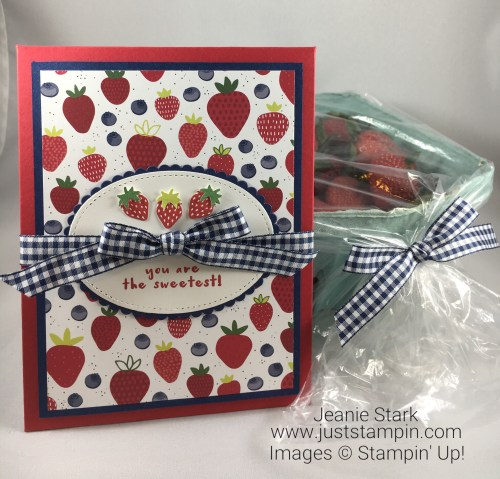 Stampin Up Fruit Basket Bundle card idea with Tutti-frutti designer series paper and the Itty Bitty Punch pack - Jeanie Stark StampinUp