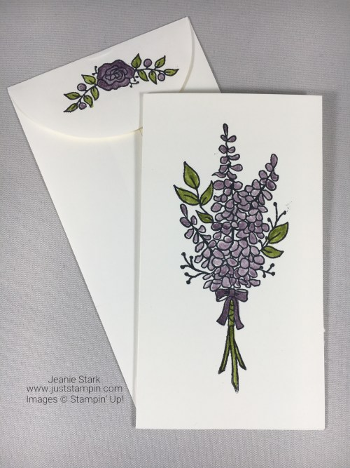 Stampin Up Lots of Lavender narrow note card idea - Jeanie Stark StampinUp