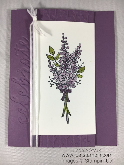 Stampin Up Lots of Lavender joy fold celebrate card idea - Jeanie Stark StampinUp