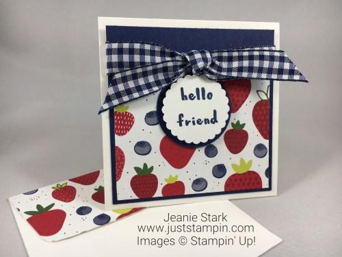Stampin Up Tutti-frutti hello friend note card idea - Jeanie Stark StampinUp