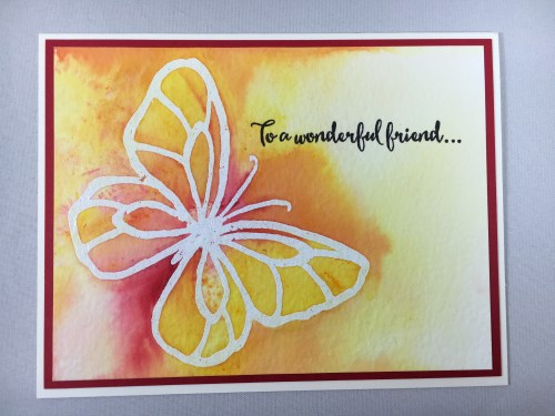 Stampin Up Beautiful Day friend card idea colored with Brusho Crystal Colour - For inspiration, ordering, and more visit www.juststampin.com Jeanie Stark StampinUp