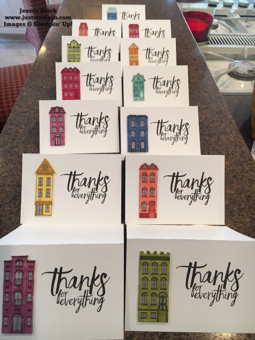 Stampin Up thank you card idea using All Things Thanks stamp set and Just Add Color Specialty Designer Series Paper - Jeanie Stark StampinUp