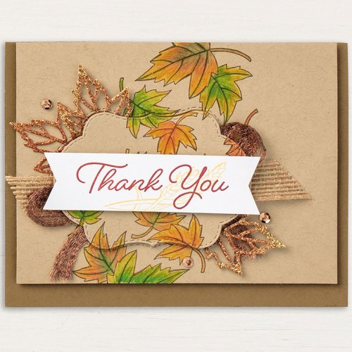 Stampin' Up! Blended Seasons fall thank you card idea - visit www.juststampin.com for inspiration and ordering. Jeanie Stark StampinUp