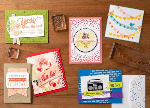 Stampin Up card ideas for birthday, thank you, celebrate, and congratulations. - Jeanie Stark StampinUp visit juststampin.com to order supplies.