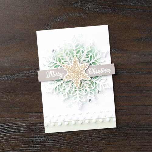 Stampin Up Snow is Glistening and Snowfall Thinlits Christmas card idea - Jeanie Stark StampinUp