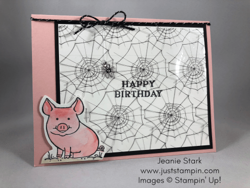 Stampin Up This Little Piggy and Paper Pumpkin Frights & Delights alternative birthday card idea - Jeanie Stark StampinUp www.juststampin.com