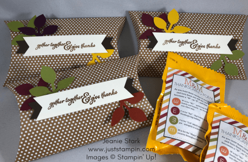 Stampin Up Pillow Boxes and Painted Harvest table favor idea - Jeanie Stark StampinUp
