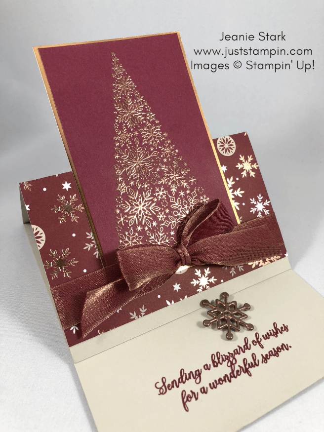 Stampin Up Snow is Glistening Fun Fold heat embossed Christmas card idea - Jeanie Stark StampinUp