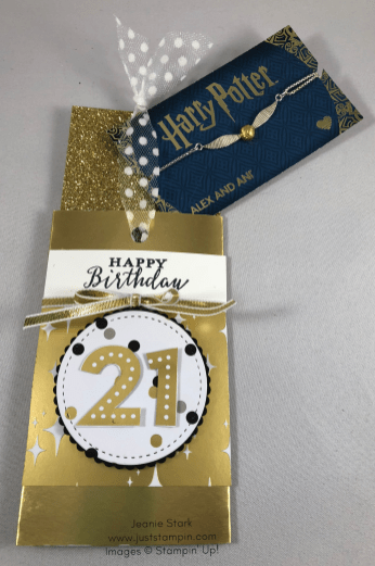 Stampin Up Detailed With Love and Broadway Bound 21st birthday gift card holder - Jeanie Stark StampinUp