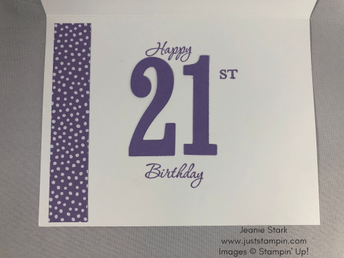 Stampin Up Memorable Moments and Large Number Framelits 21st Birthday card idea- Jeanie Stark StampinUp