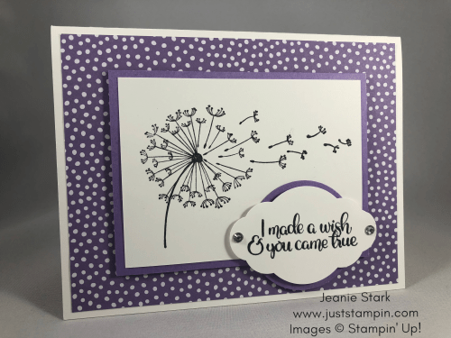 Stampin Up Dandelion Wishes birthday card idea - Jeanie Stark StampinUp