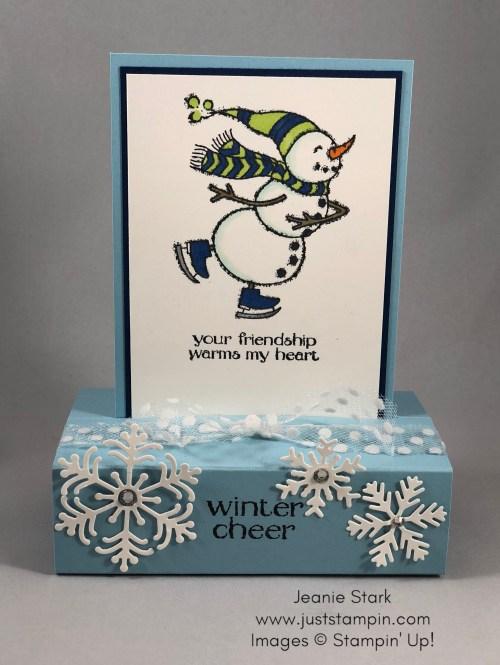Stampin Up Spirited Snowman fun fold card idea for a friend - Jeanie Stark StampinUp