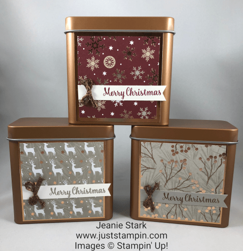 Stampin Up Copper Tin and Joyous Noel treat holder idea - Jeanie Stark StampinUp