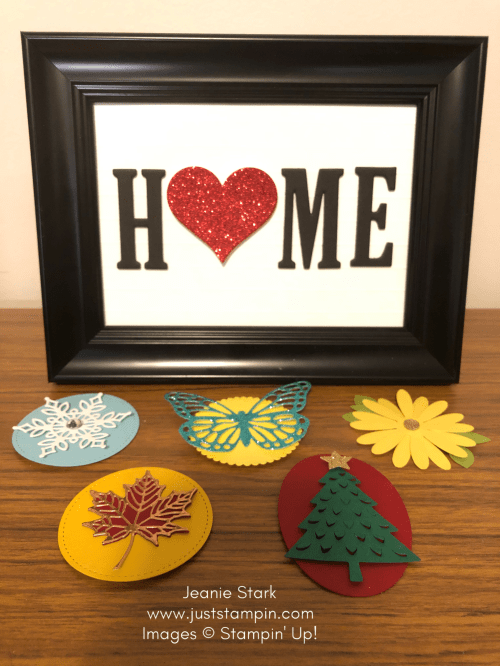 Stampin Up Large Letter Framelits Home decor project kit to go with interchangeable seasonal displays - Jeanie Stark StampinUp
