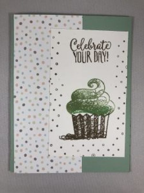 Stampin Up Hello Cupcake Birthday card idea - For more inspiration visit www.juststampin.com Jeanie Stark StampinUp