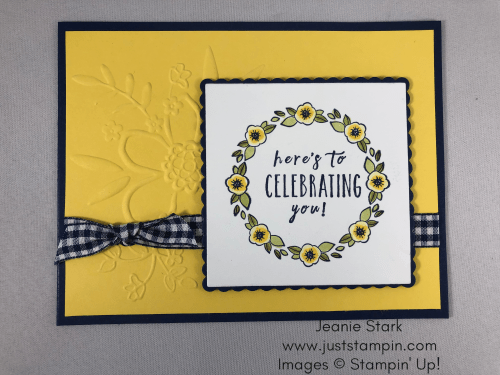 Stampin Up Perennial Birthday and Accented Blooms birthday wreath card idea made using the Stamparatus and Lovely Floral Embossing Folder - Jeanie Stark StampinUp