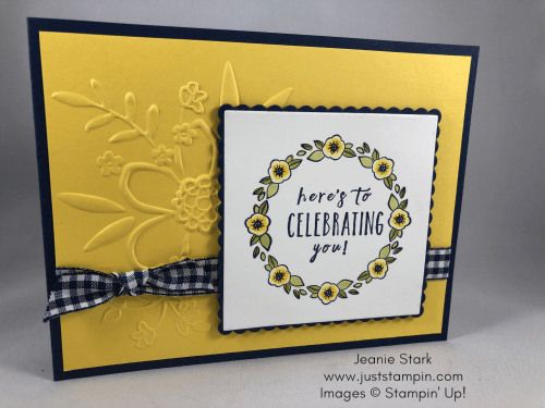 Stampin Up Accented Blooms wreath birthday card idea using the Stamparatus, Perennial Birthday stamp set and Lovely Floral Embossing Folder - Jeanie Stark StampinUp