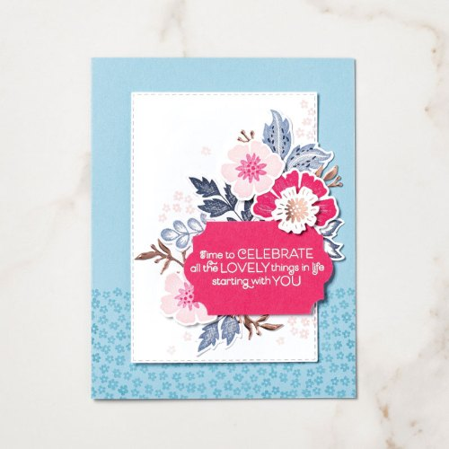 Stampin' Up! Everything is Rosy Product Medley celebration card idea - Jeanie Stark StampinUp