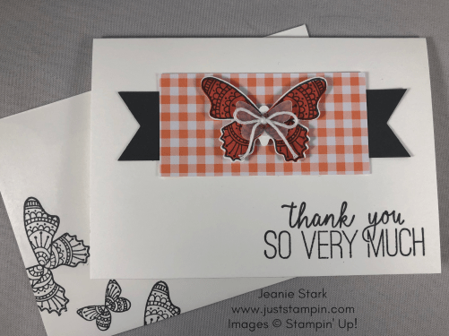 Stampin Up Butterfly Gala thank you note card idea - Jeanie Stark StampinUp