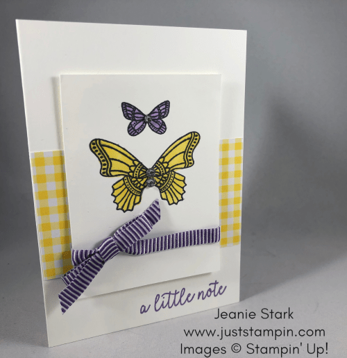 Stampin Up Gingham and Butterfly Gala note card idea - Jeanie Stark StampinUp