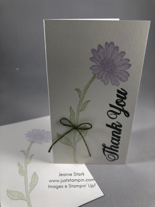 Stampin' Up! Daisy Lane Purple Posy thank you note card idea - Jeanie Stark StampinU