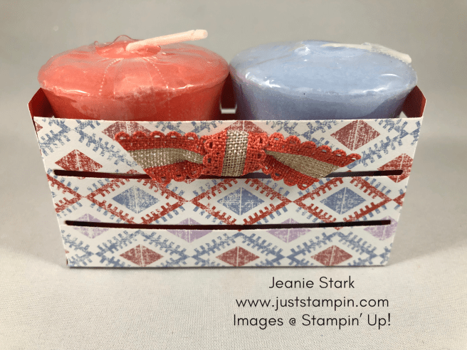 Stampin Up Wood Crate Framelits and Woven Threads Designer Series Paper Yankee candle gift idea - Jeanie Stark StampinUp
