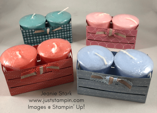 Stampin Up wood Crate Framelits and 2019-2021 In Color Designer Series Paper Yankee candle gift idea - Jeanie Stark StampinUp
