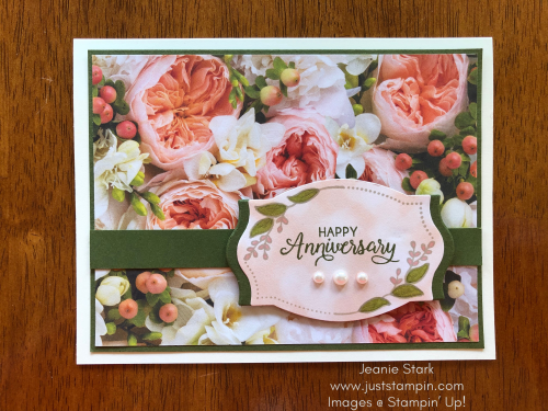 Stampin Up Foliage Frames and Beautiful Bouquet Anniversary card idea - Jeanie Stark StampinUp