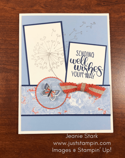 Stampin' Up! Dandelion Wishes and Woven Threads get well card idea- Jeanie Stark StampinUp