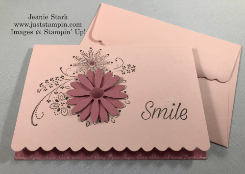 Stampin'Up! A Little Lace and Daisy Lane Scalloped Note Card idea with Daisy punch - Jeanie Stark StampinUp