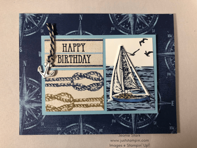 Stampin Up! Masculine Birthday card idea using Come Sail Away Designer Series Paper and Sailing Home Stamp Set - Jeanie Stark StampinUp