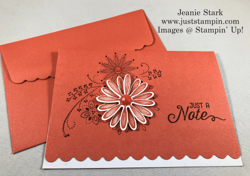 Stampin'Up! A Little Lace and Flourishing Phrases Scalloped Note Card idea with Daisy punch - Jeanie Stark StampinUp