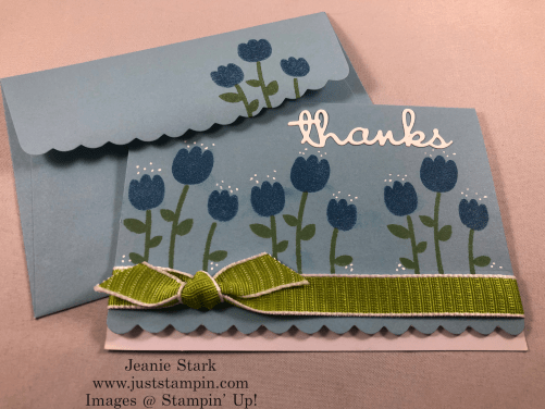 Stampin' Up! Celebrate with Cake thank you card idea using Scalloped note cards and Well Written Dies - Jeanie Stark StampinUp