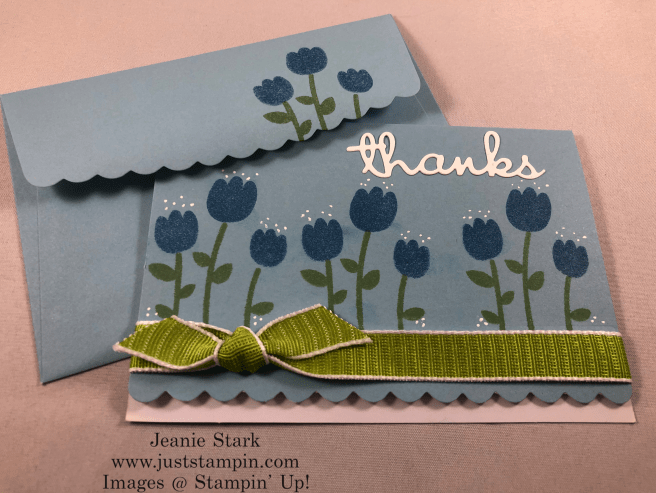 Stampin\' Up! Celebrate with Cake thank you card idea using Scalloped note cards and Well Written Dies - Jeanie Stark StampinUp
