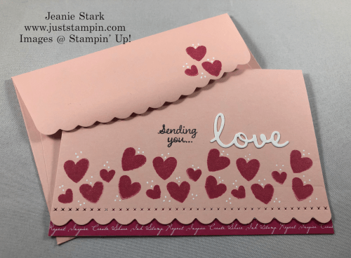 Stampin' Up! Celebrate with Cake love card idea using Scalloped note cards and Well Written Dies - Jeanie Stark StampinUp