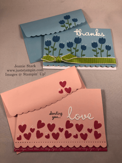 Stampin' Up! Celebrate with Cake love and thank you card ideas using Scalloped note cards and Well Written Dies - Jeanie Stark StampinUp