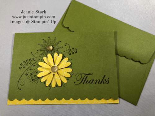 Stampin'Up! A Little Lace Thank You Scalloped Note Card idea with Daisy punch - Jeanie Stark StampinUp