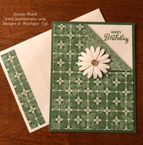 Stampin Up Beautiful Bouquet and Garden Lane Corner Fold Birthday card idea - Jeanie Stark StampinUp