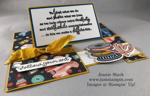 Stampin' Up! It Starts with Art stamp set and Follow Your Art Designer Series Paper Impossible Fun fold card idea - Jeanie Stark StampinUp